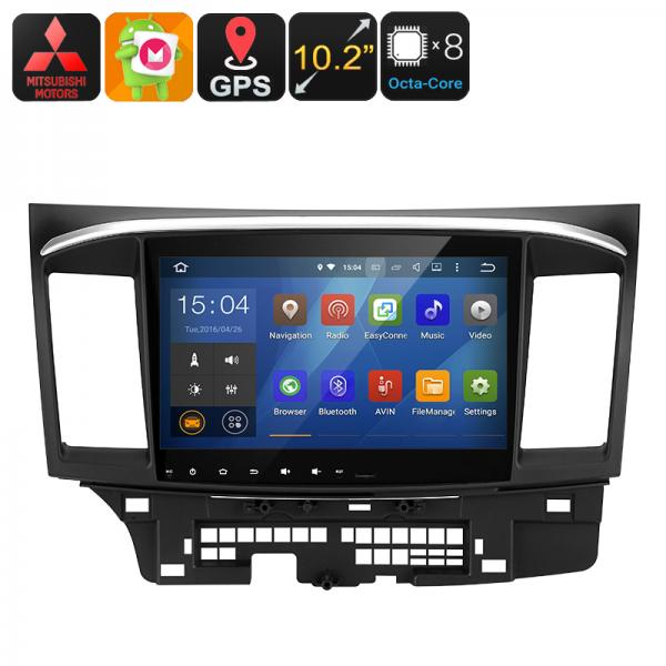 2 DIN Car Stereo Mitsubishi Lancer - Android 6.0, Octa-Core CPU, 2GB RAM, GPS, 10.2-Inch Display, Wi-Fi, Google Play, Bluetooth