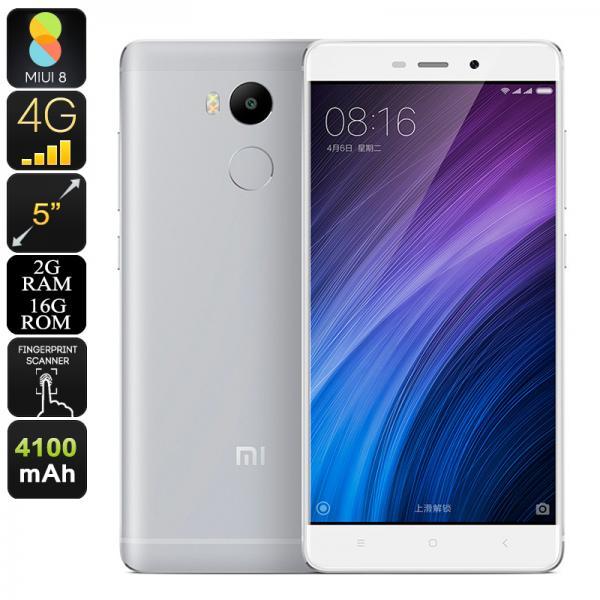 Xiaomi Redmi 4 Smartphone - 5 Inch Display, 2GB RAM, 4100mAh Battery, Octa-Core CPU, Fingerprint Sensor, Android 6.0 (Silver)