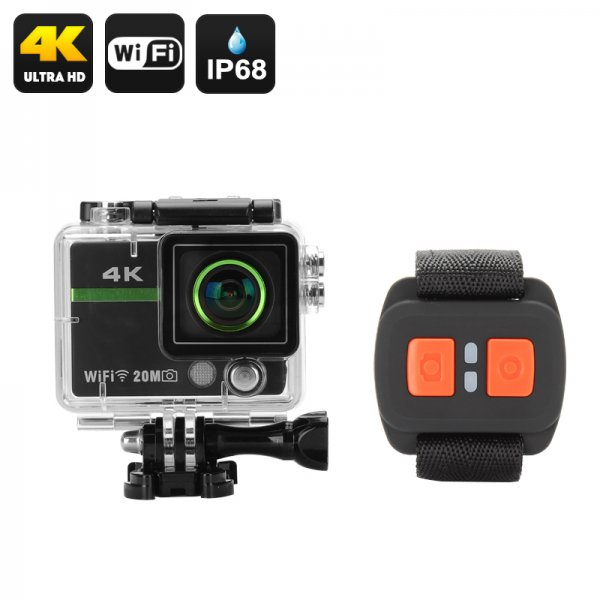 """Ultra HD 4K Action Camera """"Clarion"""" - 20MP, 170 Degree Lens, DVR Loop Recording, Wrist Remote Control, Wi-Fi, iOS + Android App"""