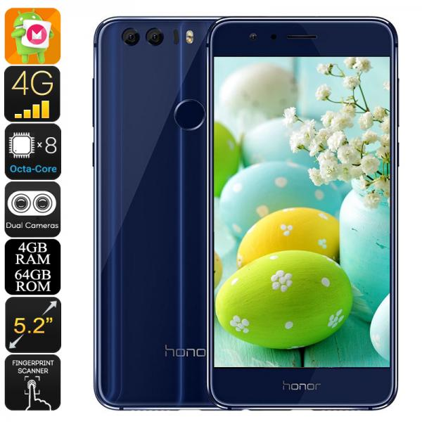 Huawei Honor 8 Android Phone - Android 6.0, Dual-IMEI, Octa-Core CPU, 4GB RAM, 3D Fingerprint, 1080p Display, 12MP Dual-Camera