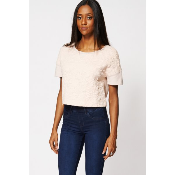 Geometric Embossed Zipper Crop 9006 -- 100% mix fibres --- select 'color' and 'size' in order remarks