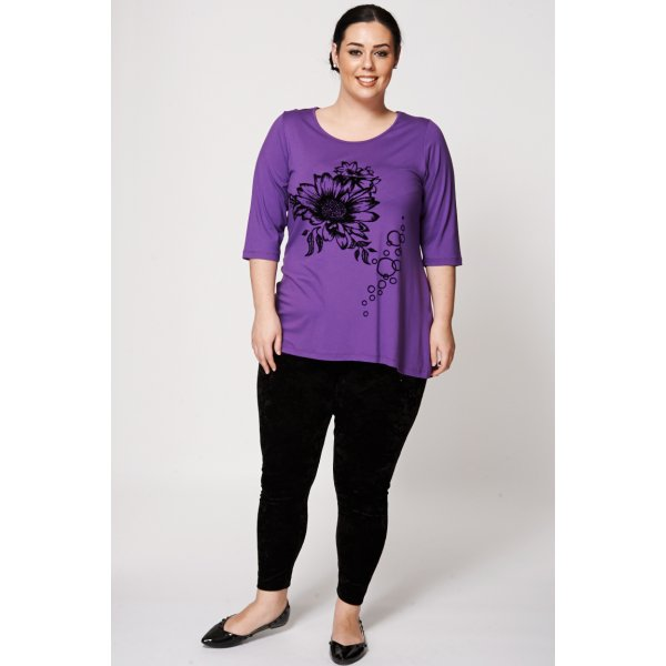 Purple Sunflower Flock Print Dipped Hem 9006 -- 100% mix fibres --- select 'color' and 'size' in order remarks