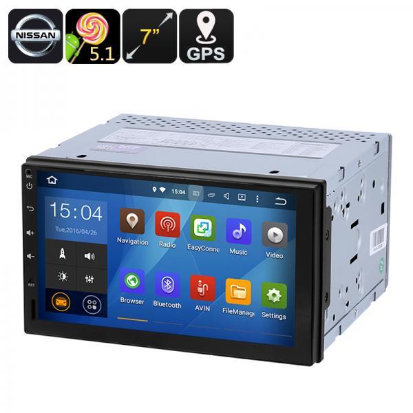 Universal Nissan 2 DIN Car Media Player - 7-Inch display, Android 5.1, GPS, Bluetooth, Google Play, FM Radio