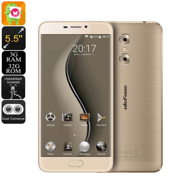 HK Warehouse Ulefone Gemini Android Phone - 13MP Dual Camera, 1080p Display, Android 6.0, Quad-Core CPU, 3GB RAM (Gold)