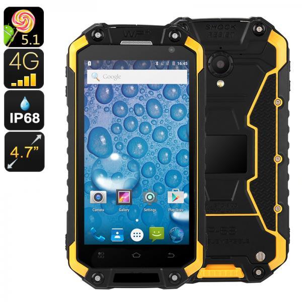 Rugged Android Phone Jeasung X8G - IP68, Dual-Band WiFi, Quad-Core CPU, 2GB RAM, Dual-IMEI, 4G, OTG, NFC, HD Display (Yellow)