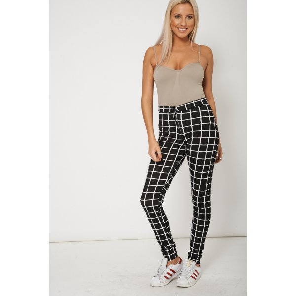 Grid Check High Waist Mono 8998 Ex-Branded Plus Sizes Available -- 95% Polyester 5% Elastane --- select 'color' and 'size' in order remarks