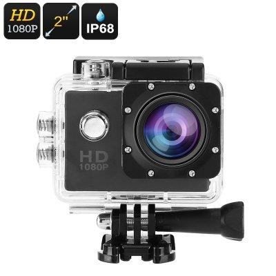 1080p Action Camera - IP68 Case, 140-Degree Lens, 2-Inch Display, 5MP CMOS Sensor, 30FPS, 900mAh Battery, 32GB SD Card Slot