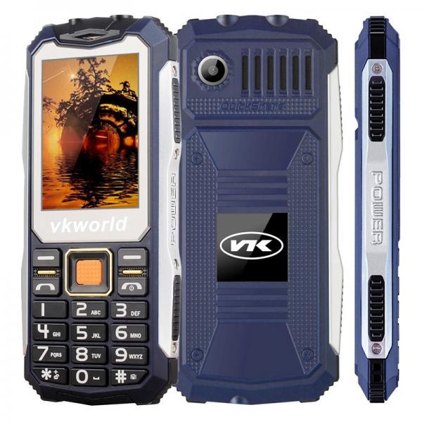 VKWorld Stone V3S Rugged Phone - IP54, Keypad, Dual-IMEI, 2200mAh Removable Battery, Flashlight (Blue)
