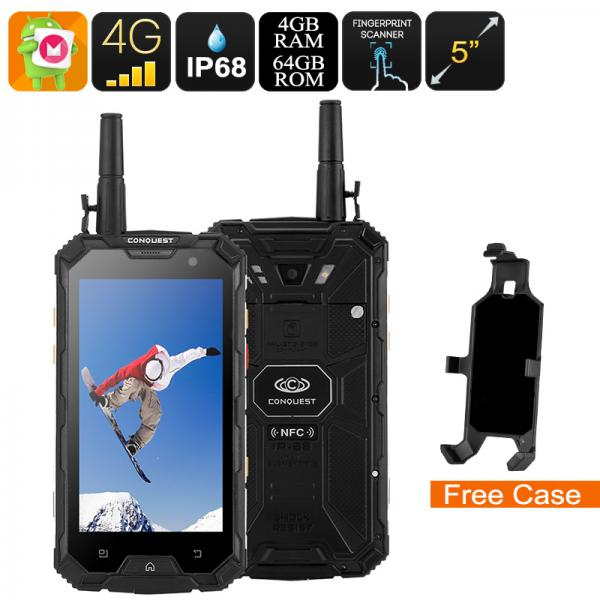 Conquest S8 Rugged Phone 2017 Edition - 4G, Android 6.0, IP68, GPS, IR Transmiter, Walkie Talkie, Octa Core CPU, 4GB RAM (Black)