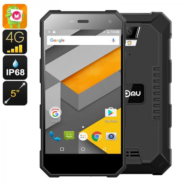 HK Warehouse NOMU S10 Rugged Android Phone - Android 6.0, IP68, Quad-Core CPU, 5 Inch IPS Display,4G, Dual-IMEI (Black)