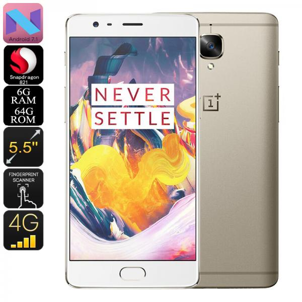 OnePlus 3T Android Smartphone - Quad-Core CPU, 6GB RAM, Android 7.1, 16MP Camera, 5.5 Inch Gorilla Glass, 4G (Gold)
