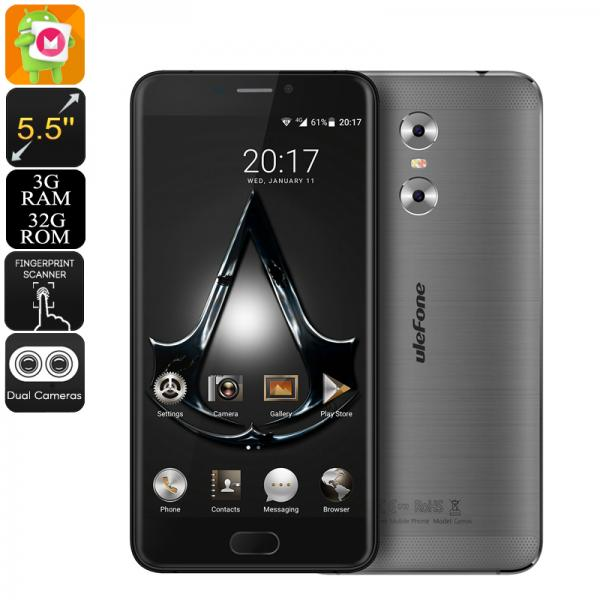 HK Warehouse Ulefone Gemini Android Phone - Android 6.0, 13MP Dual Camera, Quad-Core CPU, 3GB RAM, 1080p Display (Grey)