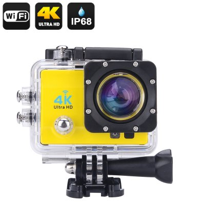 4K Wi-Fi Waterproof Sports Action Camera - 4K Ultra HD, 16MP, 170 Degree Wide Angle, 2 Inch LCD Display, HDMI Out (Yellow)