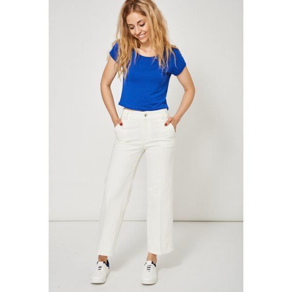 Cream Denim Culottes Ex-Branded -- 98% Cotton 2% Elastane --- select 'color' and 'size' in order remarks