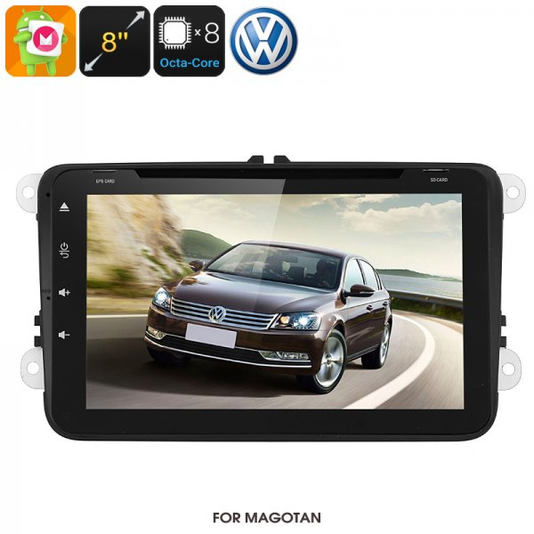Dual-DIN Car Media Player - For Volkswagen Passat, Android 6.0, WiFi, GPS, CAN BUS, Octa-Core, 2GB RAM, HD Display, DVD