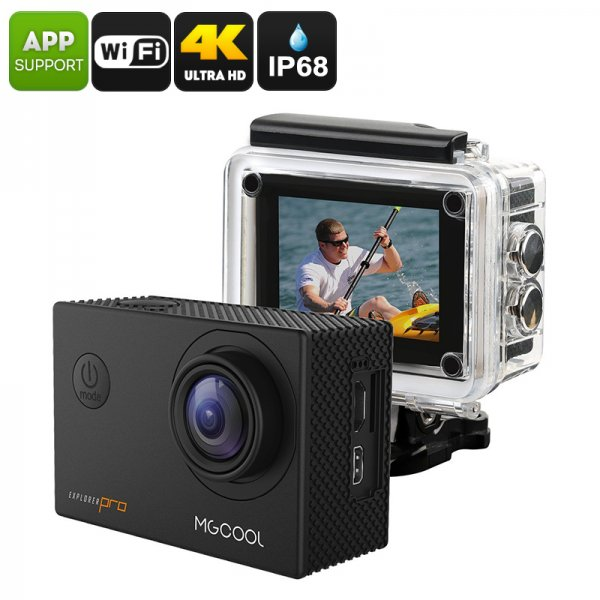 MGCOOL Explorer Pro Action Camera - Interpolated 4K, IP68, Sony IMX179 Image Sensor, 170-Degree Lens, 1050mAh, App Control, 16MP