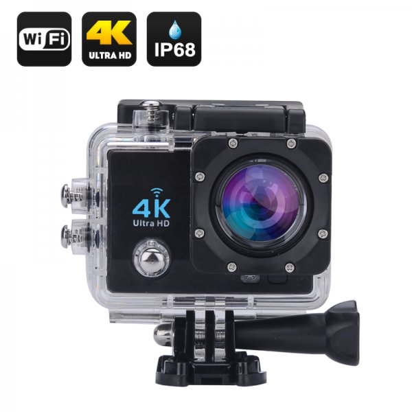 Wi-Fi 4K Waterproof Sports Action Camera - 4K Ultra HD, 16MP,2 Inch LCD Display, HDMI Out, 170 Degree Wide Angle (Black)