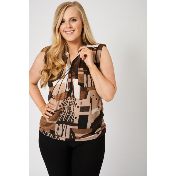 Button Front Sleeveless Abstract Print 9006 -- 100% Viscose --- select 'color' and 'size' in order remarks