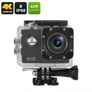 Elephone ELE Explorer 4K Action Camera - 16MP Sensor, 170 Degree View, 2 Inch Display, IP68 Case, Wi-Fi (Black)