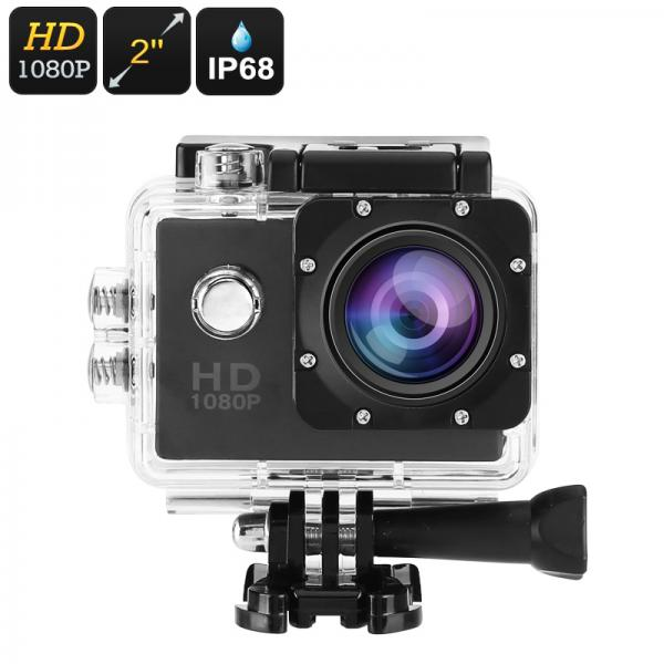 1080p Action Camera - IP68 Case, 140-Degree Lens, 2-Inch Display, 5MP CMOS Sensor, 30FPS, 900mAh Battery, 32GB SD Card Slot