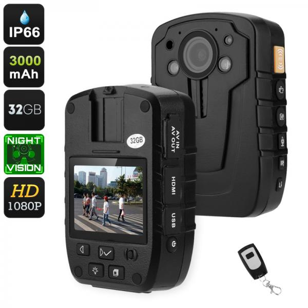 Body Worn Camera - IP66, 1080p, 2-Inch Display, 140-Degree Lens, 3000mAh, Night Vision, 32GB Storage, 16X Digital Zoom