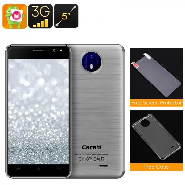 Cagabi One Android Smartphone - Android 6.0, Quad-Core CPU, Dual-IMEI, 5-Inch HD Display, 3G, 8MP Camera (Silver)