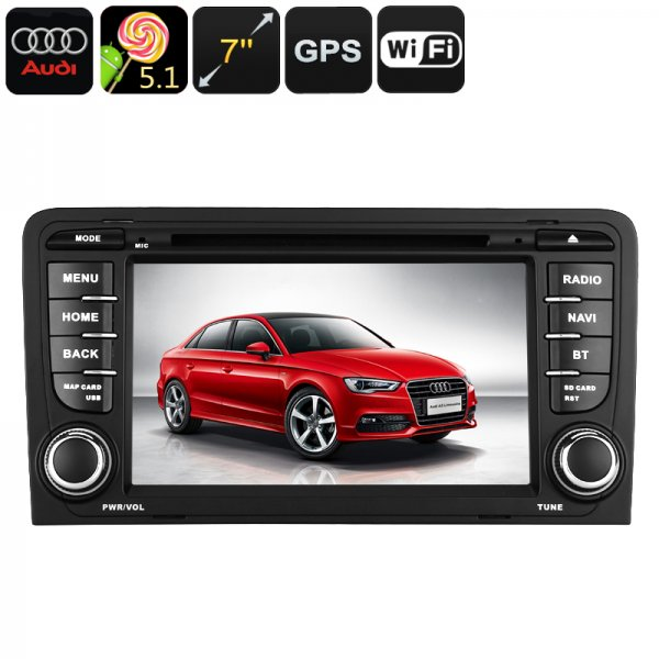 2-DIN Car DVD Player For Audi A3 - Android OS, WiFi, GPS, 7 Inch Display, Google Play, Quad-Core CPU