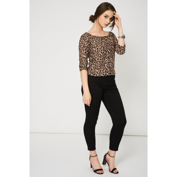 Leopard Pattern Bardot 9006 Ex-Branded -- 100% Polyester --- select 'color' and 'size' in order remarks