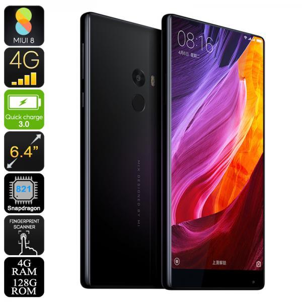 Xiaomi Mi MIX 128GB Smartphone - Bezel-less 6.4 Inch Display, Android 6.0, Snapdragon 821, 4GB RAM, Dual-Band Wi-Fi, 4G