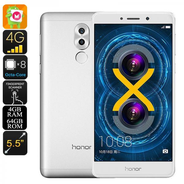 Huawei Honor 6x Android Phone - Octa-Core CPU, Android 6.0, 5.5 Inch Display, Dual-IMEI, 4G, Dual-Camera, Fingerprint (Silver)
