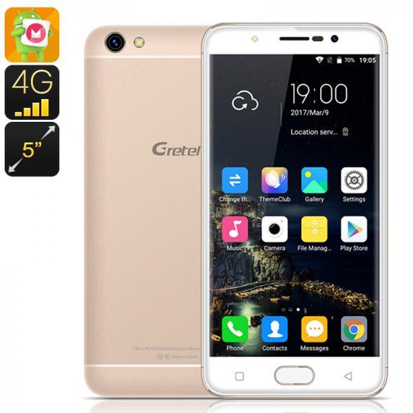 HK Warehouse Gretel A9 Android Phone - 4G, Dual SIM, 5 Inch Screen, Quad Core CPU, 2GB RAM, Android 6.0, Fingerprint (Gold)