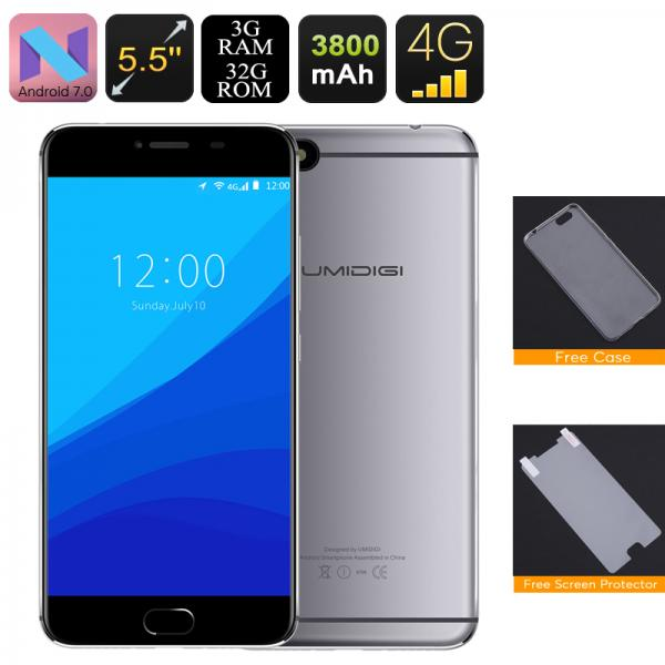 HK Warehouse UMIDigi C Note Android Smartphone - Quad-Core CPU, 3GB RAM, Dual-IMEI, 4G, Android 7.0, 13MP Cam (Gray)