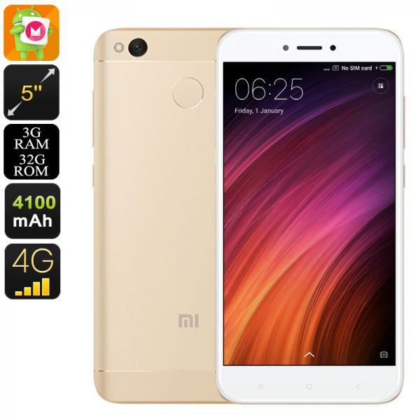 Android Phone Xiaomi Redmi 4X - Snapdragon 435 CPU, 3GB RAM, 5 Inch HD Display, Dual-IMEI, 4G, Fingerprint, 13MP Camera (Gold)