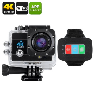 Q3H Waterproof 4K Sports Camera - 16MP, 4X Digital Zoom, 2 Inch LCD Screen, 170 Degree Wide Angle Lens (Black)