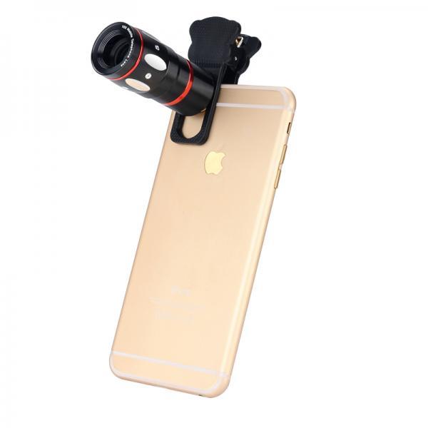 Universal 4-in-1 Smartphone Lens Kit - Fisheye Lens, Macro Lens, X10 Telescopic Lens, Wide Angle Lens (Black)