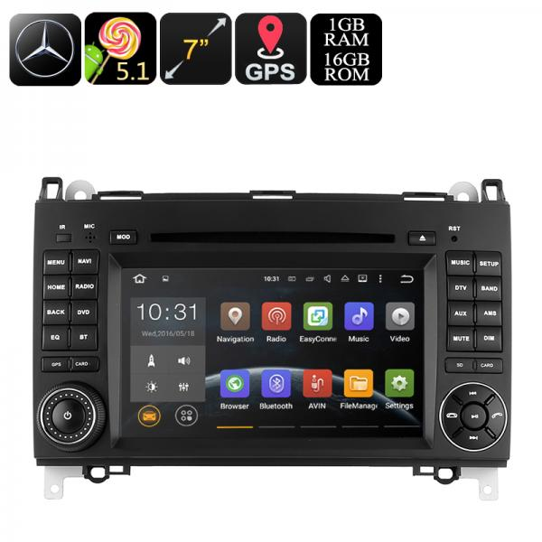 Dual-DIN Car DVD Player For Mercedes-Benz B200 - 7-Inch, Android OS, Quad-Core CPU, 3G Dongle Support, GPS, Wi-Fi
