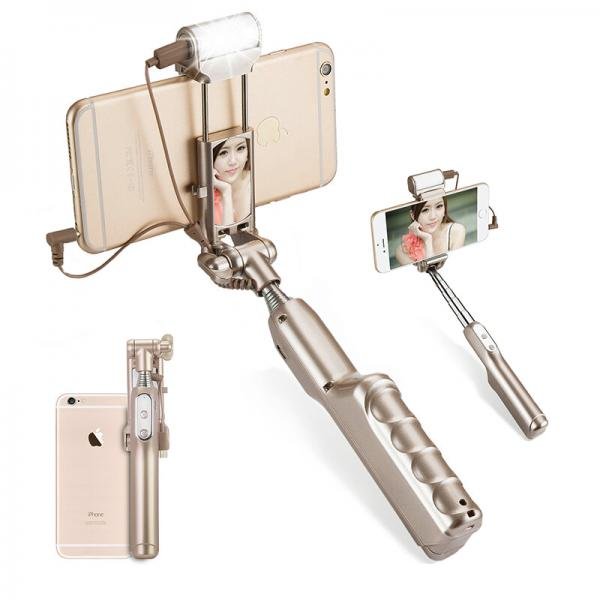 Selfie Stick For Android + iOS - 270 Degree Rotation, LED Flashlight, 1500mAh Battery (gold)
