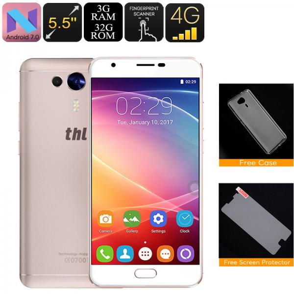 THL Knight 1 Android Phone - Dual SIM, 4G, Octa Core CPU, 3GB RAM, Android 7.0 , Fingerprint Scanner, HotKnot (Gold)