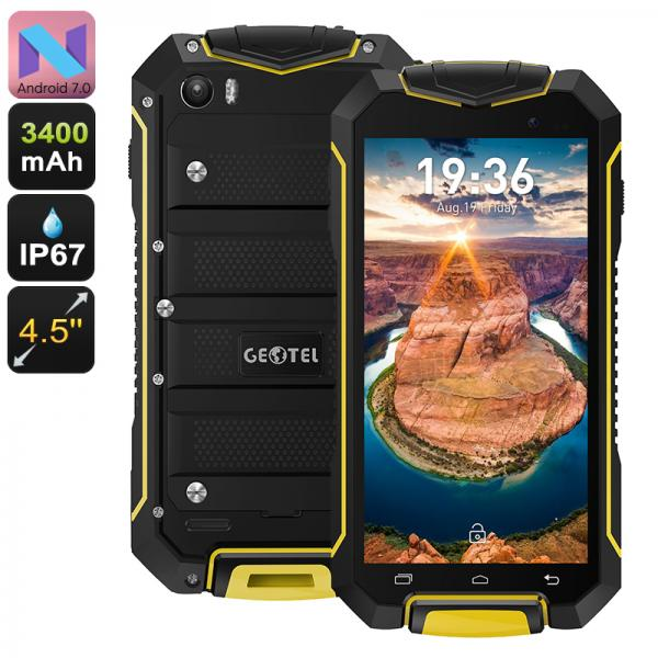 Geotel A1 Rugged Smartphone - Quad-Core CPU, Android 7.0, Dual-IMEI, 3400mAh, IP67, 4.5 Inch Display, 8MP Camera (Yellow)