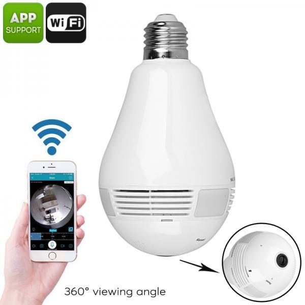 LED Light Bulb Security Camera - 360-Degree Fisheye, Motion Detection, WiFi, App, SD Card Recording, FHD Video, 3x 1W LED