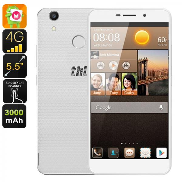 THL T9 Plus Android Smartphone - 4G, Dual IMEI, Android 6.0, 5.5-Inch Display, 3000mAh, Quad-Core CPU, 2GB RAM (White)
