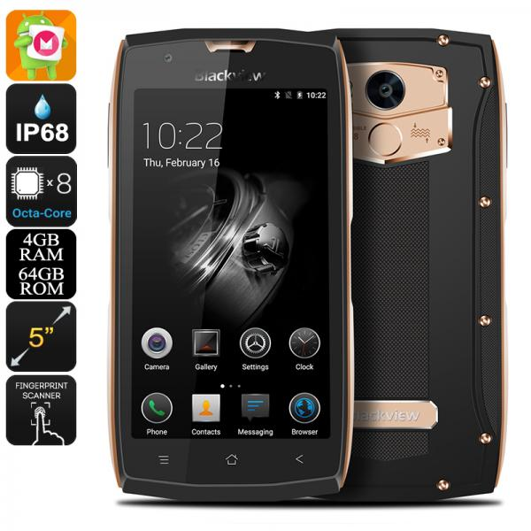 HK Warehouse Blackview BV7000 Pro Android Phone - 4G, Dual-IMEI, Octa-Core CPU, 4GB RAM, Android 6.0, IP68 (Gold)