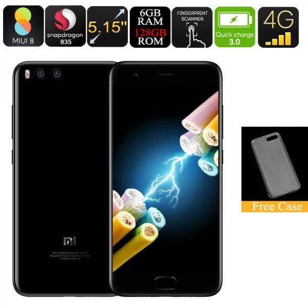 Xiaomi Mi6 Android Smartphone - Snapdragon 835 CPU, 6GB RAM, 128GB Internal Memory, Quick-Charge, Dual-Rear Camera, 4G