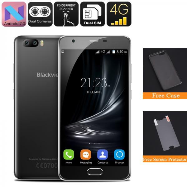 HK Warehouse Blackview A9 Pro Android Phone - 4G, Android 7.0, Dual Rear Camera, Quad Core CPU, 2GB RAM, 5 Inch Display (Black)