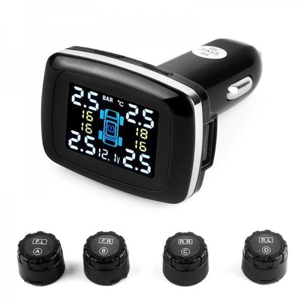 Tire Pressure Monitoring System - 4 Sensors, Real-Time Data, Tire Pressure, Tire Temperature, Tire Leaking Warning Alarm