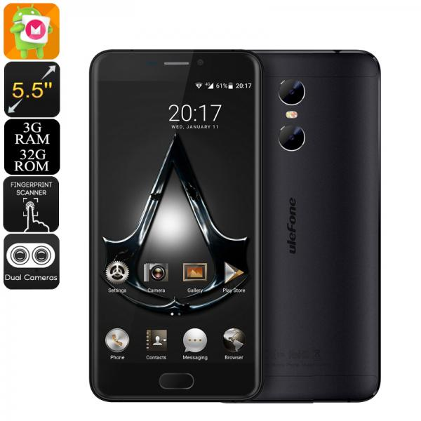 HK Warehouse Ulefone Gemini Android Phone - Quad-Core CPU, 3GB RAM, Android 6.0, 13MP Dual Cam, 1080p Display (Black)