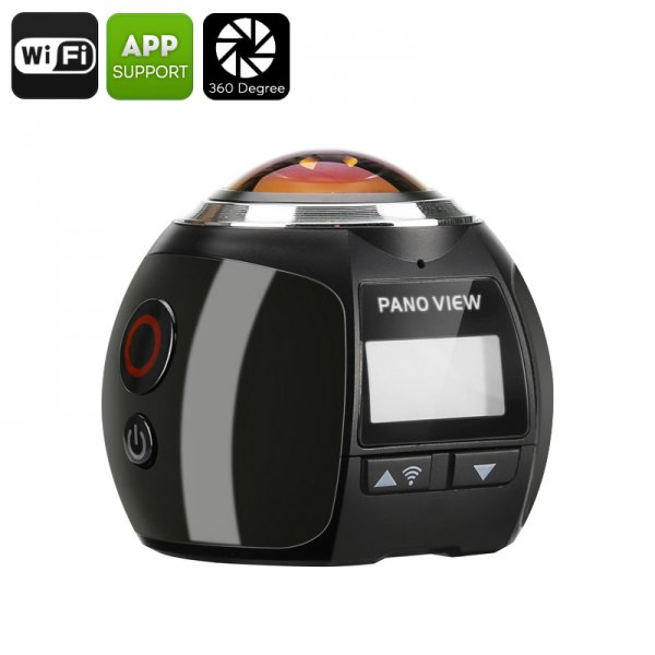 360 Degree 4K Action Camera - 30M Waterproof, 220 Degree Fish Eye Lens, 16MP, FHD 2448P At 30FPS, Wi-Fi, HDMI (Black)