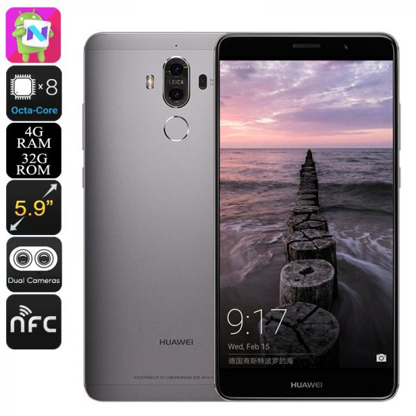 Huawei Mate 9 Android Smartphone - Leica Dual-Camera, 5.9-Inch Display, OTG, Android 7.0, Octa-Core CPU, 4GB RAM (Grey)