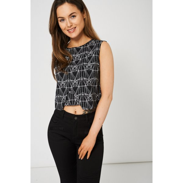 Black And White Double Layered Front Crop 9006 -- 90% Polyester 10% Elastane --- select 'color' and 'size' in order remarks