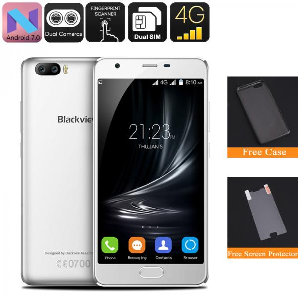 HK Warehouse Blackview A9 Pro Android Phone - 4G, 2GB RAM, Quad Core CPU, Dual Rear Camera, Android 7.0, 5 Inch Display (White)